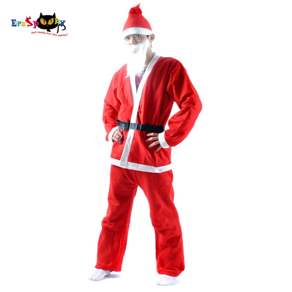 Eraspooky Cheap Christmas Costume For Adult Santa Claus Costume 2017 Hat Coat Pants beard Belt Set Christmas Cloths Novelty