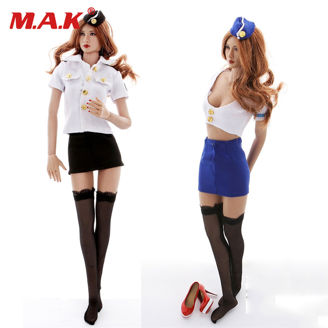 1/6 scale Stewardess and policewomen sexy uniform suits clothing set model fit for 12 inches figures bodies dolls accessories