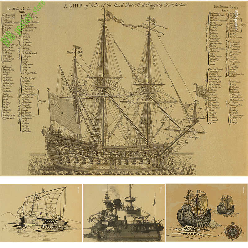Retro Poster Ancient Warship Map Nautical Chart Home Decoration Painting Core Drawing Hanging Picture Comic Ship Photo Wallpaper