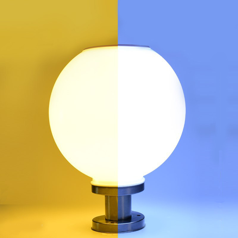 18 LED redonda de acero inoxidable lámpara de poste Solar al aire libre IP65 columna impermeable Luz de cabeza para jardín Villa Pilar jardín Hotel Lámparas solares LED     -