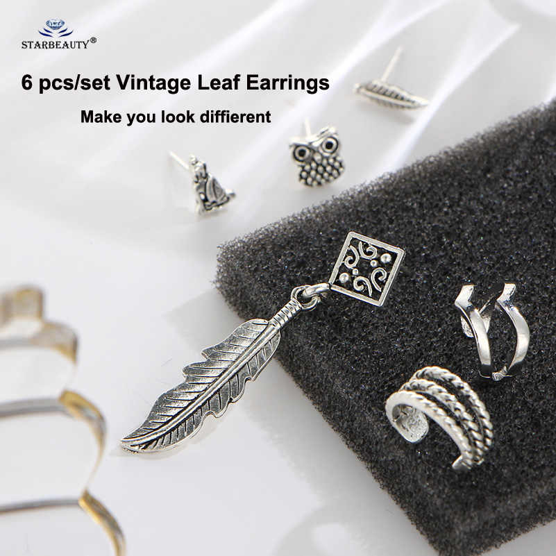 Starbeauty 6pcs/lot New Long Leaf Buddha Statue Cuff Earrings Set Ear Piercing Helix Piercing Tragus Fake Nose Ring Body Jewelry