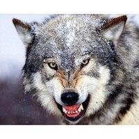 Diamond Embroidery Snow Wolf Head Diy Diamond Painting Cross Stitch Kit Animal 50cm 40cm Full Coverage