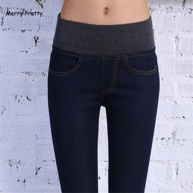 4e2cfd5615ff9 2018 Winter Warm Jeans For Women Thick Pants Female Stretch Elastic Fashion High  Waist Jeans Femme Denim Skinny Denim Trousers