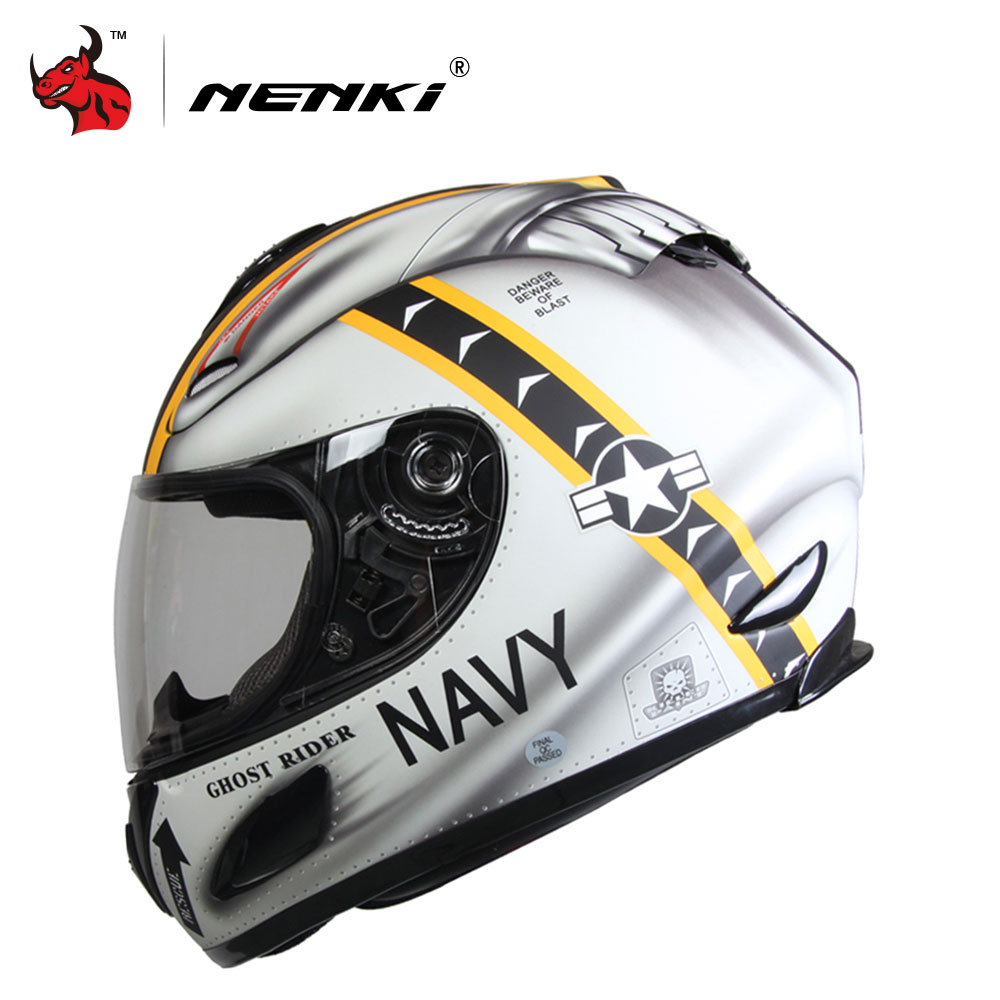 NENKI Motorcycle Helmet Moto Cross Casque DOT Motorbike Racing Helmet Skull Moto Helmet Clear Lens Shield