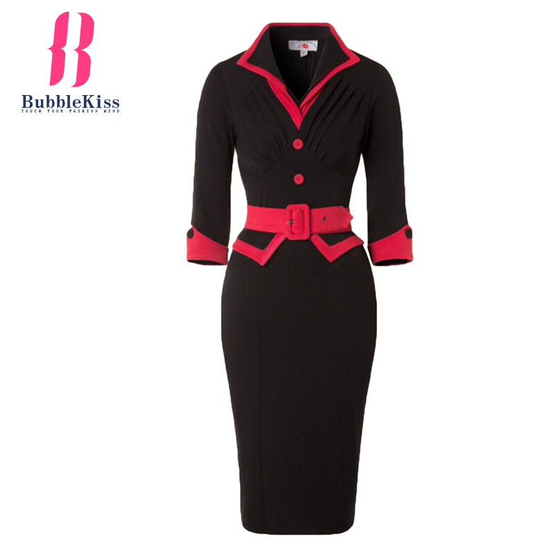 Bubblekiss Turn Down Collar Red Black Patchwork Bodycon Dres Spring Summer Work Dresses Women Elegant Midi