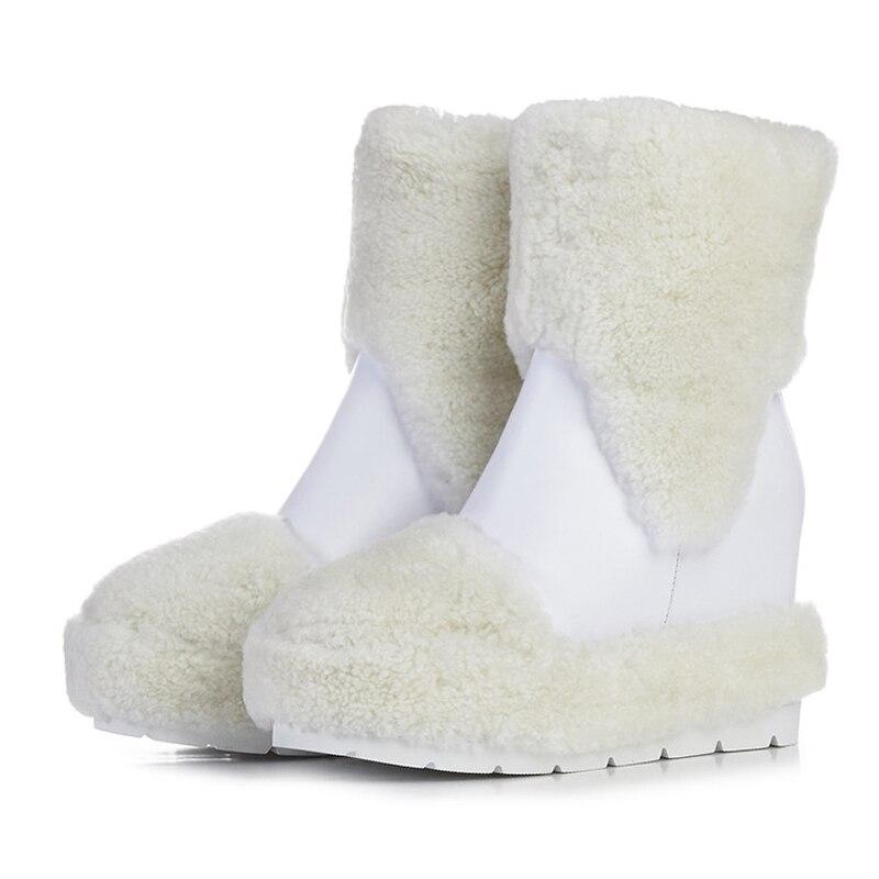 Neige Noir Picture Chaud Blanc 2018 Augmentation Mouton Courtes Cuir En Bout Hauteur De D'hiver Bottes as forme Rond Chaussures Plate As Compensées Rouge Picture Fourrure FZZCwq8