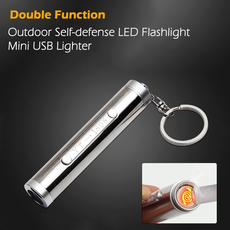 Outdoor Self-defense USB Mini Charging Flashlight With lighter Stainless Steel 2W High Power LED light