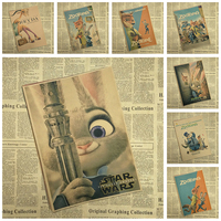 Classic Cartoon Movie Kraft Paper Poster Zootropolis Bar Cafe Interior Decoration Painting Free Shipping