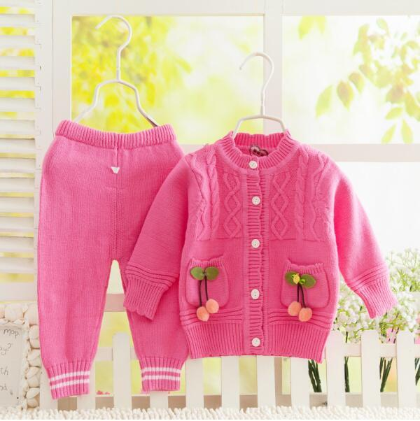 High Quality Autumn and winter cotton baby  100% cotton sweater  Newborn sweater set  baby sweater set