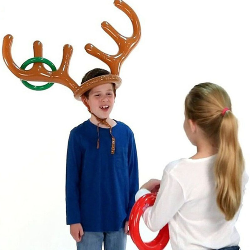 Reindeer Antler Christmas Toy Inflatable Reindeer Christmas Hat Antler Ring Toss Party Game Toys M09