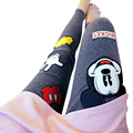 Women Embroidery Cartoon Mickey Embroidery Elasticity Slim Leggings Black