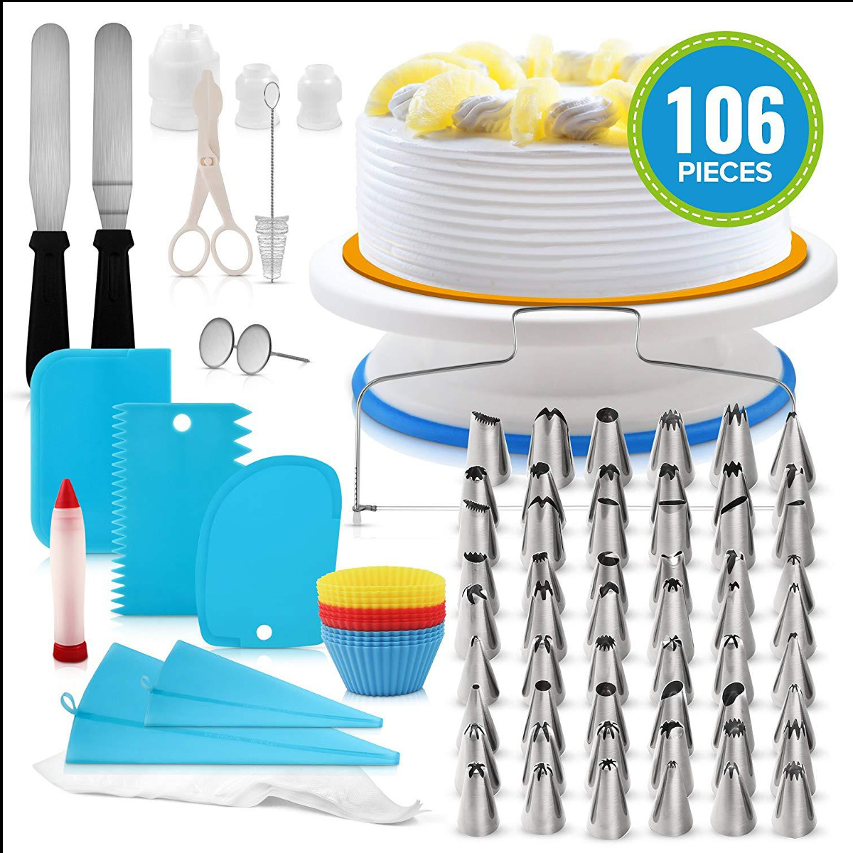 106pcs Cake Turntable Cake Decorating Kit Rotating Cake Stand DIY Baking Tools Kitchen Dessert Baking Supplies Display Stand Set
