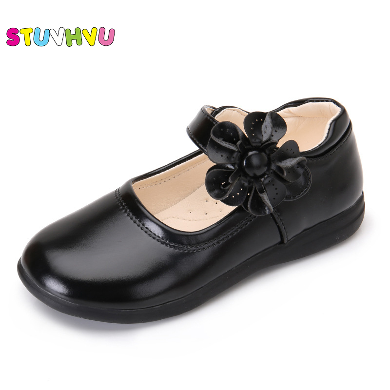 Soft PU Full Balck Leather Shoes For Girls  Spring Autumn Kids Single Shoes Student Sun Flowers Princess Shoes Peas Flat Shoes