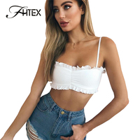FHTEX Sexy Strapless Ruched White Slim Tank Camis Women Spaghetti Strap Stretch Casual Tank Tops Vest