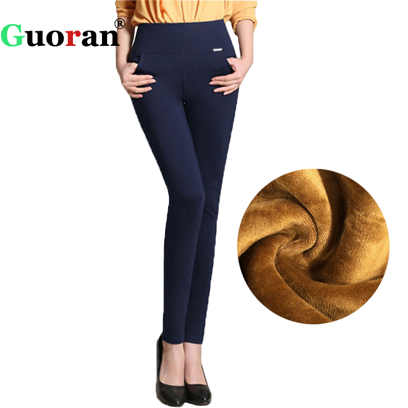 {Guoran}2017 Winter pants women Office Thick Warm Fleece High Waist pencil pants Stretch black White trousers Plus Size Leggings