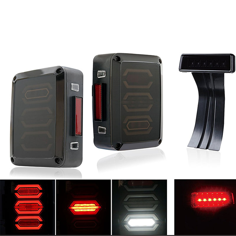 Free Shipping Smoke PMMA LENS LED Tail lights w/Turn signal & 3rd LED brake Light Assembly for Jeep Wrangler JK JKU 07-17