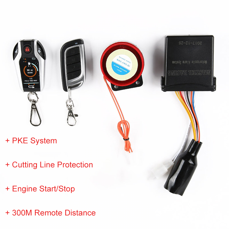 Two Way Motorcycle Alarm System Scooter Anti theft Alarms Remote Engine Start Stop Alarm Lock Protection