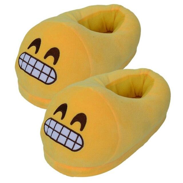 Забавные Зимние Мягкие Плюшевые Emoji Тапочки Женщины Вэнь Детский Крытый Главная Мультфильм Emoji Выражение Размер Обуви 35-44 Pantufa Pantuflas