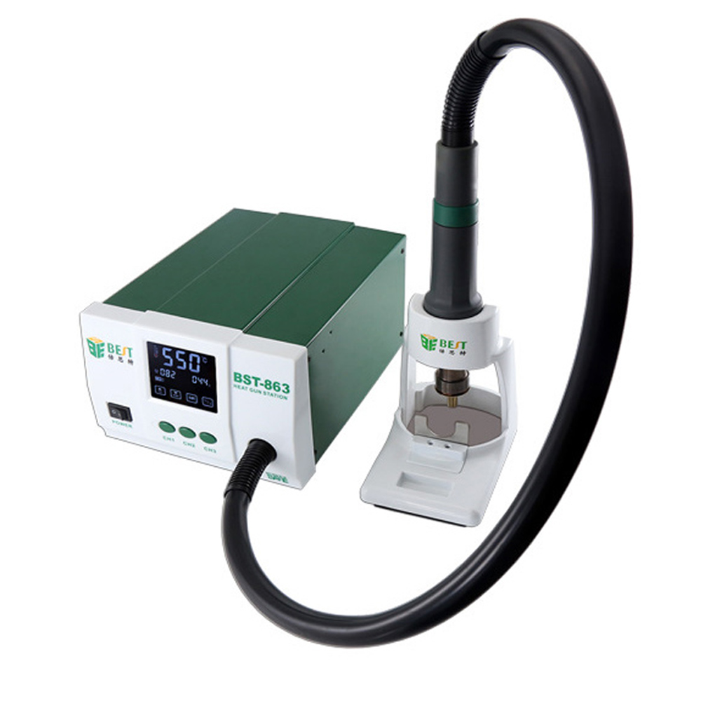 Lead-Free Thermostatic Heat Gun BEST-863 Soldering Station 1200W Intelligent LCD Digital Display Rework Station For Phone Repair