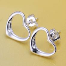 925 jewelry silver plated Earring Fashion Jewelry Warm Heart STL Silver Earrings E099(China)