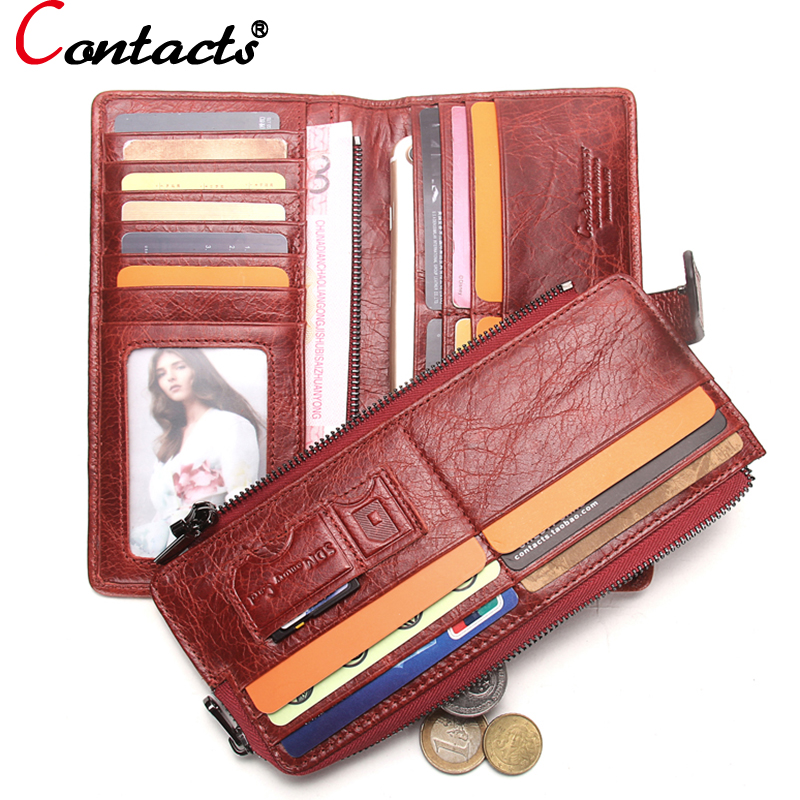 CONTACT S Women Wallet Genuine Leather Wallet Female clutch Coin Purse credit card holder Organizer Stitching
