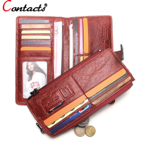 CONTACT S Genuine Leather Women Wallet Luxury Brand Female Clutch Bag Ladies Coin Money Card Holder