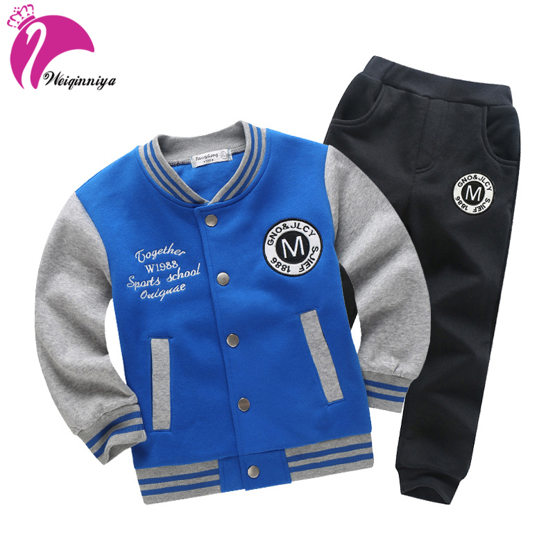 купить weiqinniya Boys Set Autumn Sports Suit For a Boy Fashion Children Letter Clothing Set For Boy 2018 Kids Active 2pc Suit Clothes недорого