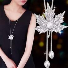 Lemon Value Fashion Statement Crystal Leaf Pendant Necklace Luxury Rhinestone Imitation Pearl Long Necklace Women Jewelry A114