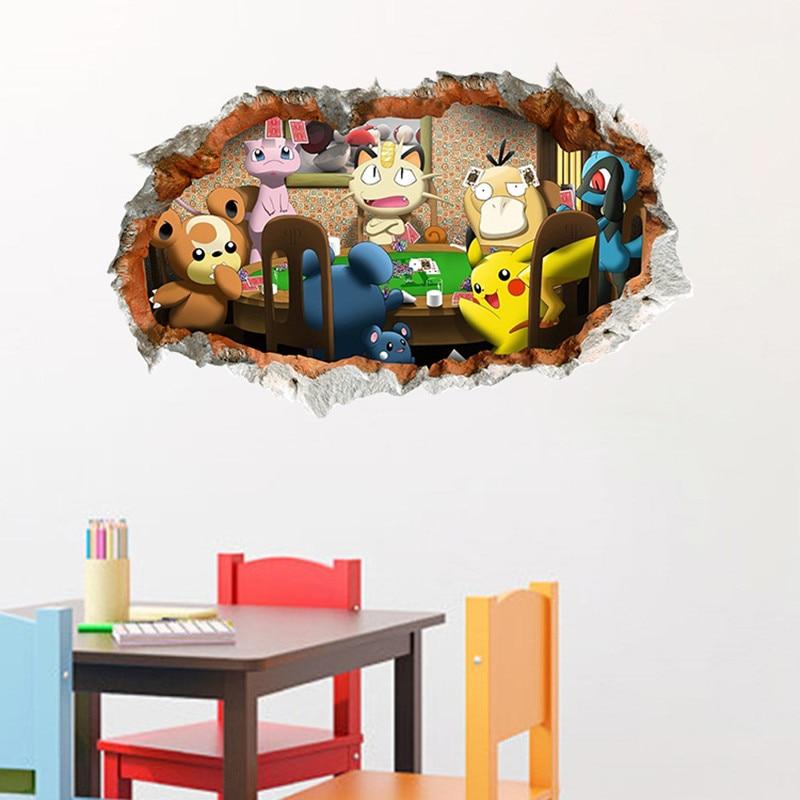 Baby Pikachu 3d gebrochen wand vinyl aufkleber Pokemon anime poster wandbild kinderzimmer kindergarten dekoration cartoon tapete - Pokemon Tapete