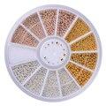 1 Caixa de Esferas de Aço Do Prego Pregos Tira Ouro Champagne 0.8mm/1.0mm/1.2mm/1.5mm mista 3D Decorações Da Arte Do Prego Na Roda Manicure DIY