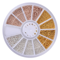1 Caja de Bolas de Acero Clavos de Oro Champagne Astilla 0.8mm/1.0mm/1.2mm/1.5mm mezclada 3D Nail Art Decoraciones En Rueda de Manicura DIY