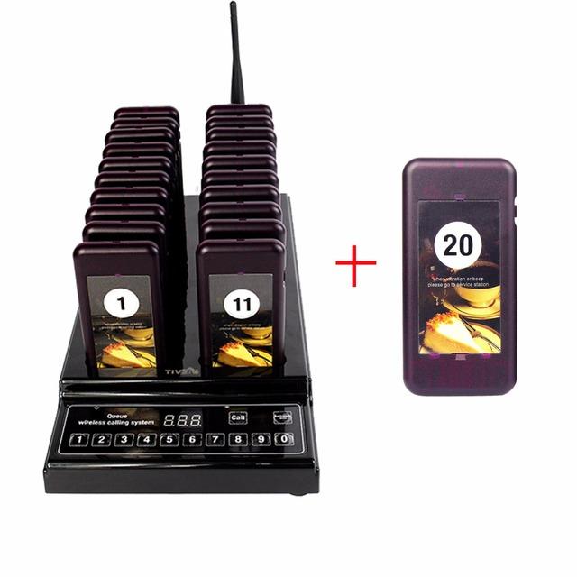Sistema de Fila de Paginação Pager Sem Fio Botão de Chamada Chamada de 21 Pagers Coaster Equipamentos Restaurante 999 Canais F9402A