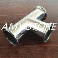 OD 51mm 2 3 Way Tee Sanitary Ferrule Pipe Fitting Stainless Steel 304