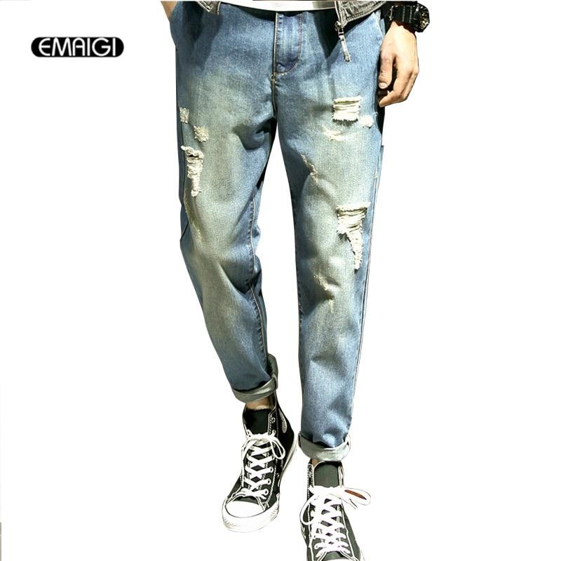 Large Size M-5XL Street Fashion Hiphop Male Denim Harem Pant Men Hole Loose Jean Trouser large size 29 42 young men jeans hole patchwork denim harem pant male fashion casual denim pant trousers