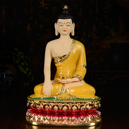 Wholesale Buddhist supplies #HOME 20cm Buddhism Buddha hand painted real body Buddha lotuses Buddha gilding brass statue