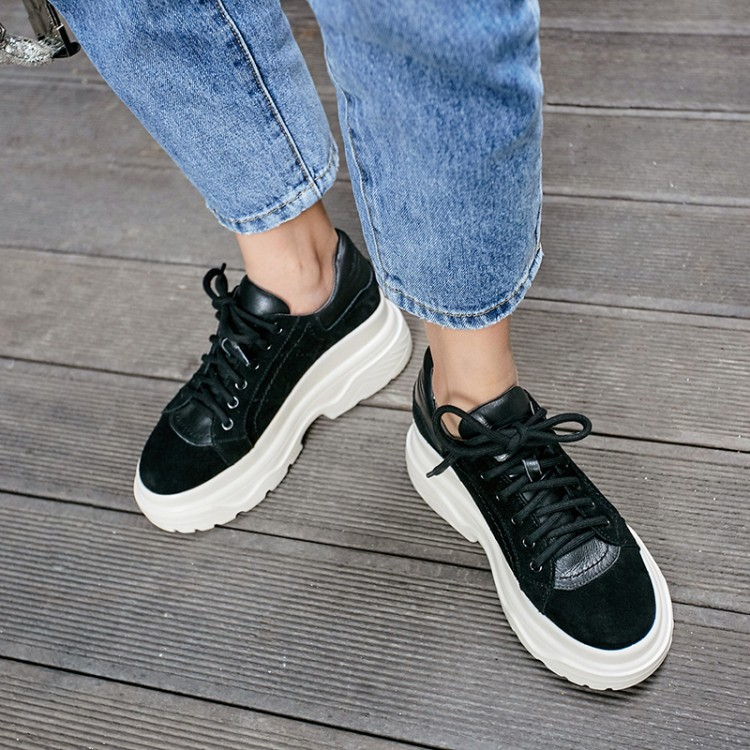 MLJUESE 2019 fashion sneakers Cow Suede leopard lace up autumn spring comfortable loafers Vulcanize Shoes platform sneakers