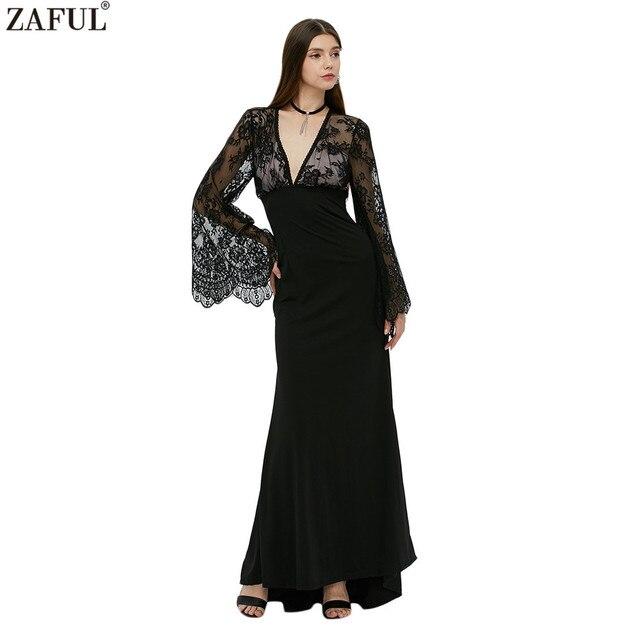 bf9664709 ZAFUL marca estilo Sexy profundo cuello en V negro de encaje vestido de noche  Maxi Vestido