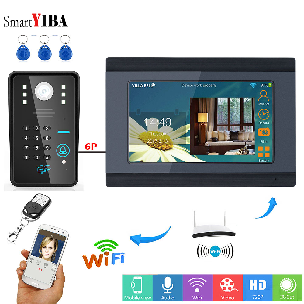 SmartYIBA RFID Password Video Intercom 7 Inch Monitor Wifi Wireless Video Door Phone Doorbell Camera Intercom System APP Control yobangsecurity rfid password 7 inch monitor wifi wireless video door phone doorbell video camera intercom system kit app control