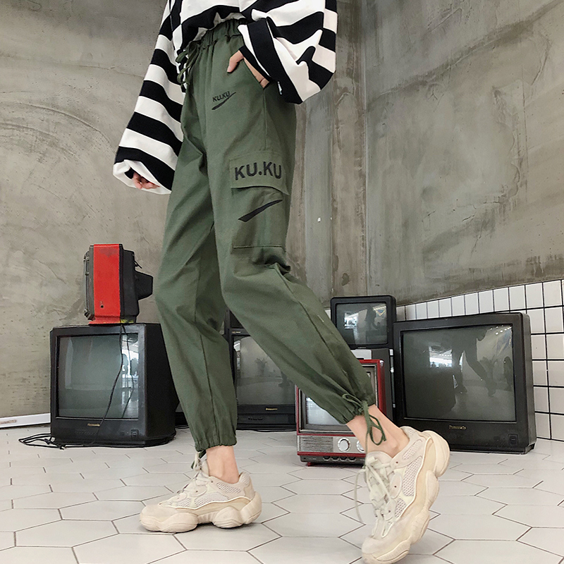 Image 5 - Pants Women High Quality Cargo Ankle Length Trousers Soft Harajuku Korean Style Womens Trendy Solid Pockets Casual All match New-in Pants & Capris from Women's Clothing
