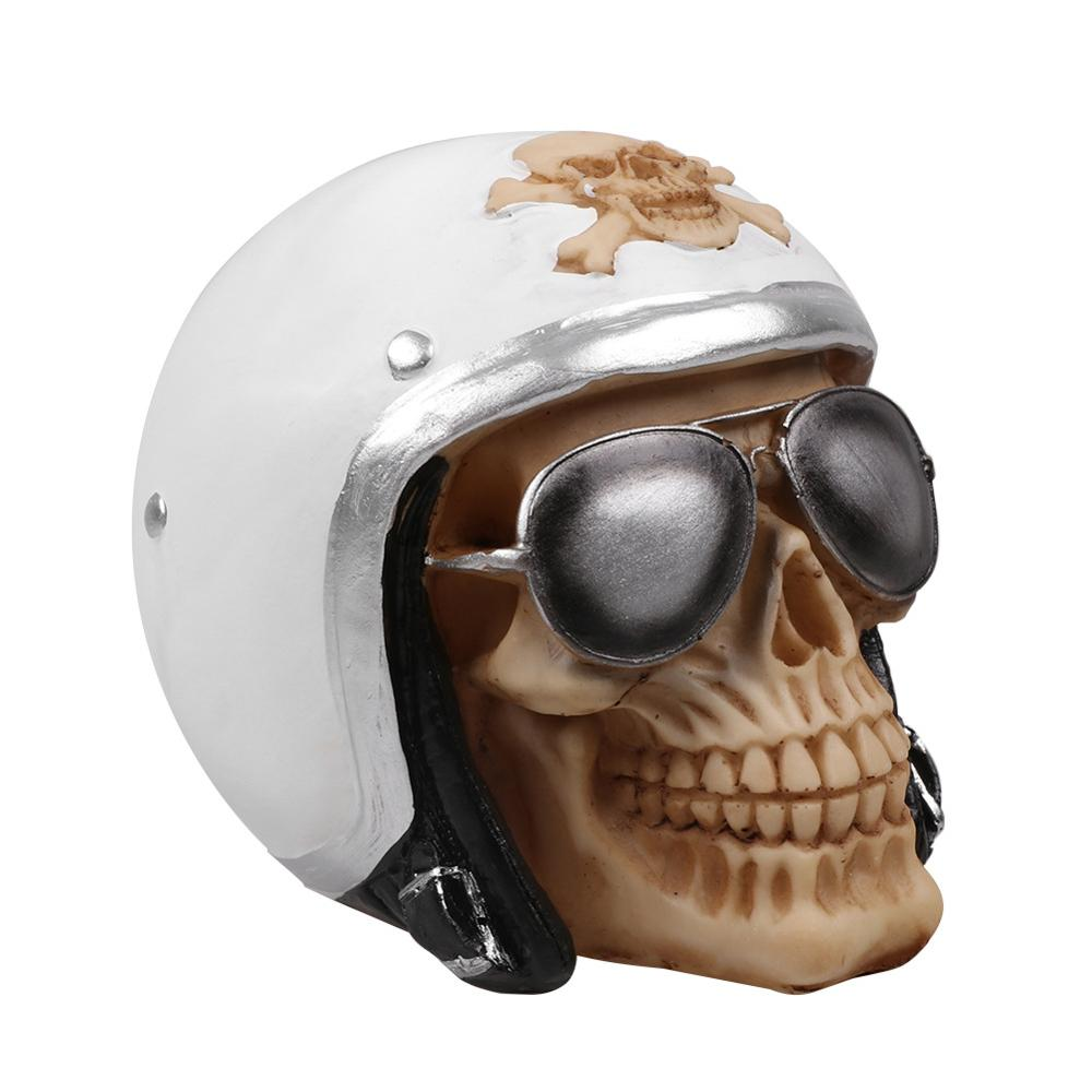 MRZOOT Resin Craft Statues For Decoration Skull  Motorcycle Helm Skull Fashion Home Decor Creative Statue Personalized Ornaments