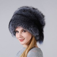 2018 Hot Women's New Warm Winter Hat Real Natural Fox Fur Hat With Small Fox Tails On The Top Snow proof Thick Cap For Women