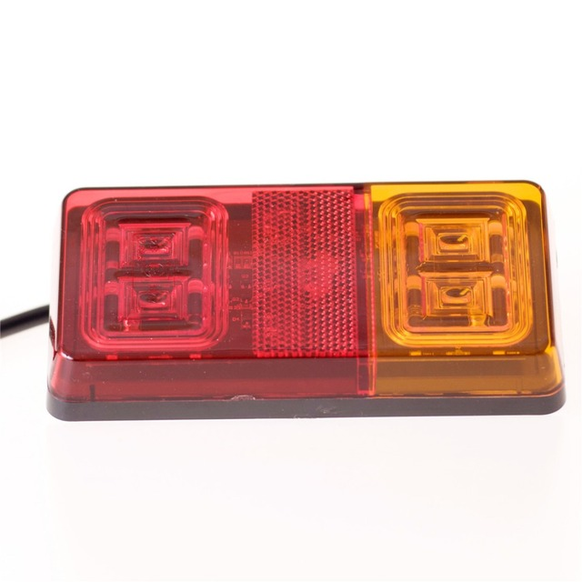 2pcs 16 Led Double Color Trailer Tail Lights Indicator Turn Signal Light Car  Van Lamp E