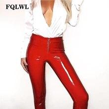 FQLWL Pvc PU bőr ceruza nadrág Női felső derék Zipper alkalmi Bodycon nadrág 2018 Nyári Streetwear Pantalon Femme Leggings