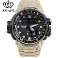 Snalog smael marca hombres deportes relojes de doble pantalla digital led electrónico relojes del cuarzo militar reloj natación impermeable