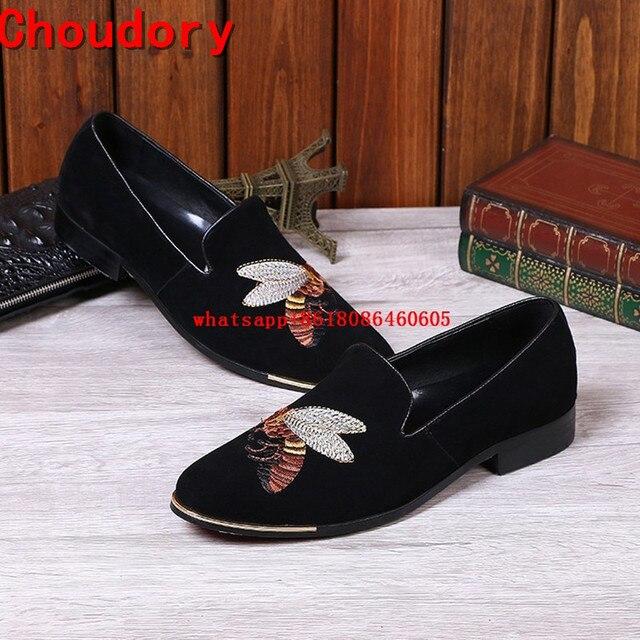Choudory Luxury Brand Moda Uomo Velluto Fumatori Pantofole Scarpe  Britannico Mens Appartamenti Ape Ricamo Fannulloni Abito 2f8e9d2c20f