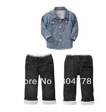 Мода Длинным Рукавом baby boy одежда набор Осень детская одежда 2 шт. набор рубашка + джинсы