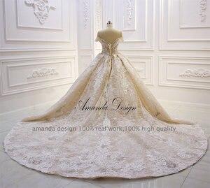 Image 5 - אמנדה עיצוב robe לונג soiree כבוי כתף תחרה Appliqued קריסטל שמפניה חתונה שמלה