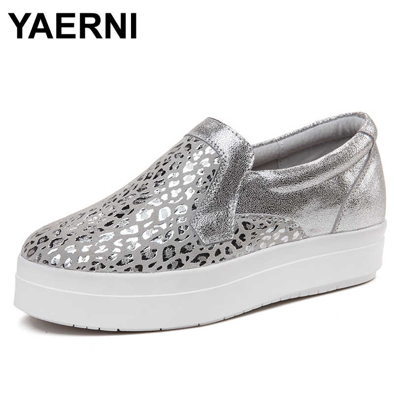 YAERNI O16U Women Platform Flats Loafers Shoes Bling Leopard Genuine Leather Slip on Casual Flats White Sole Ladies Shoes silver lanshulan bling glitters slippers 2017 summer flip flops platform shoes woman creepers slip on flats casual wedges gold