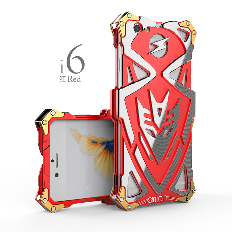 imágenes para Original Simon prueba de Choques Impermeable Tornillo Ironman De Aluminio del Metal para el iphone 6 6 s Cajas Del Teléfono Para el iphone 6 s plus