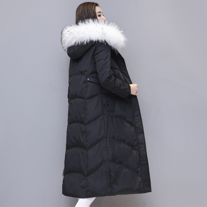 white duck   down   jacket park 2017 fashion thickening large fur collar   down     coats   women long winter womans plus size jacket QH0847